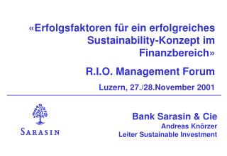 Bank Sarasin & Cie Andreas Knörzer Leiter Sustainable Investment