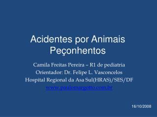 Acidentes por Animais Pe onhentos