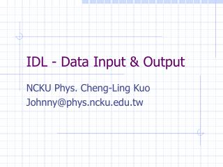 IDL - Data Input & Output