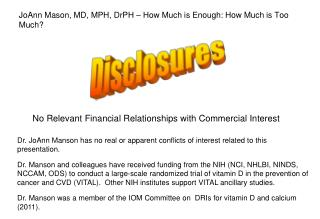 No Relevant Financial Relationships with Commercial Interest