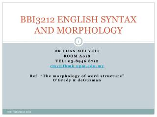 BBI3212 ENGLISH SYNTAX AND MORPHOLOGY