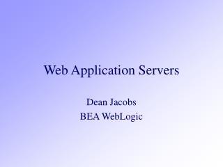 Web Application Servers