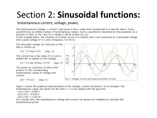 Section  2:  Sinusoidal functions: