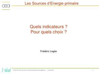 Les Sources d'Energie primaire