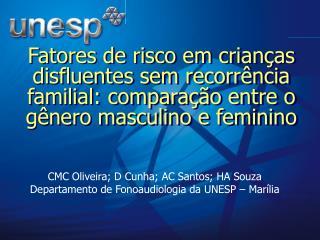 CMC Oliveira; D Cunha; AC Santos; HA Souza  Departamento de Fonoaudiologia da UNESP – Marília