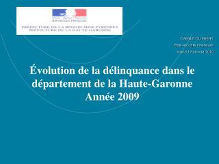 Évolution de la délinquance dans le département de la Haute-Garonne Année 2009