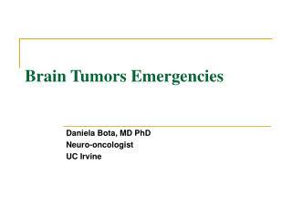 Brain Tumors Emergencies