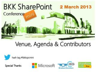 Venue , Agenda  & Contributors