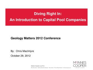Diving Right In: An Introduction to Capital Pool Companies