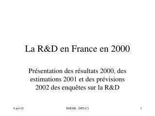 La R&D en France en 2000