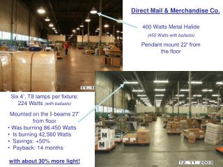 400 Watts Metal Halide (455 Watts with ballasts) Pendant mount 22' from the floor