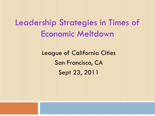 Leadership Strategies in Times of Economic Meltdown