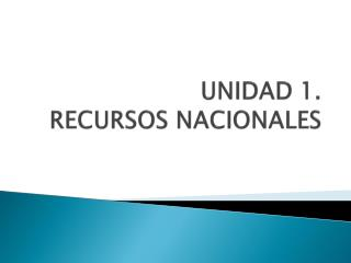 UNIDAD 1.  RECURSOS NACIONALES