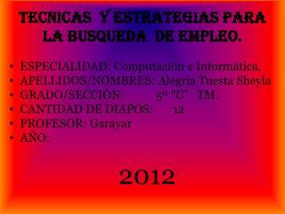 TECNICAS  Y ESTRATEGIAS PARA  LA BUSQUEDA  DE EMPLEO.