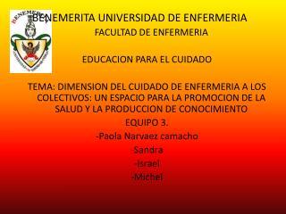 B ENEMERITA UNIVERSIDAD DE ENFERMERIA FACULTAD DE ENFERMERIA EDUCACION PARA EL CUIDADO