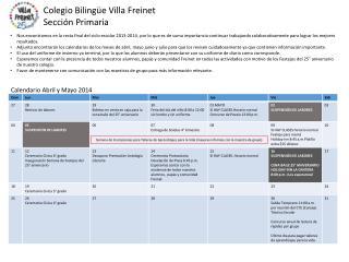 Calendario Abril y Mayo 2014