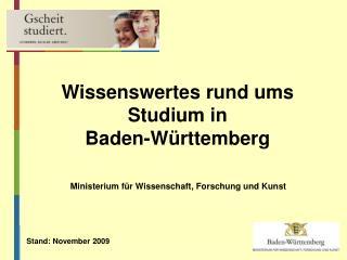 Wissenswertes rund ums Studium in  Baden-Württemberg