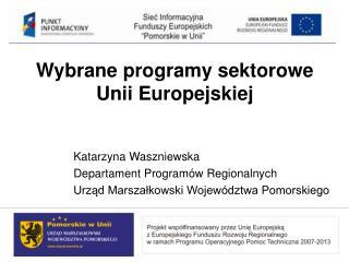 Wybrane programy sektorowe Unii Europejskiej