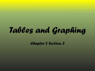 Tables and Graphing