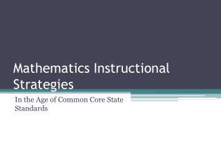 Mathematics Instructional Strategies