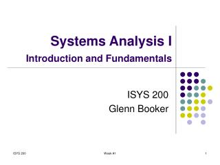 Systems Analysis I Introduction and Fundamentals
