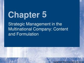 Strategic Management in the Multinational Company: Content and Formulation