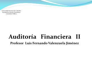 Auditoría   Financiera   II Profesor  Luis Fernando Valenzuela Jiménez