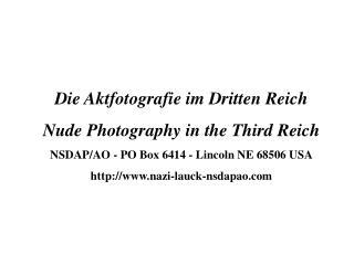 Die Aktfotografie im Dritten Reich Nude Photography in the Third Reich