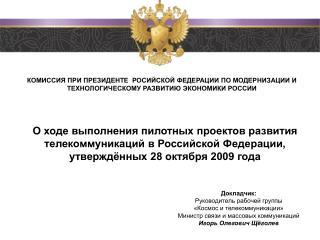 Докладчик:  Руководитель рабочей  группы  «Космос и телекоммуникации»