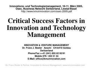 Critical Success Factors in Innovation and Technology Management