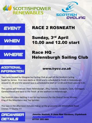 RACE 2 ROSNEATH Sunday, 3 rd  April 10.00 and 12.00 start Race HQ –  Helensburgh Sailing Club