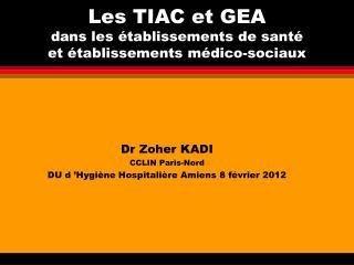 Les TIAC et GEA  dans les établissements de santé  et établissements médico-sociaux