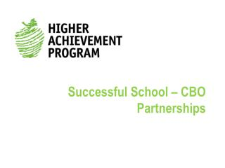 Successful School � CBO Partnerships