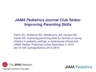 JAMA Pediatrics  Journal Club Slides: Improving Parenting Skills