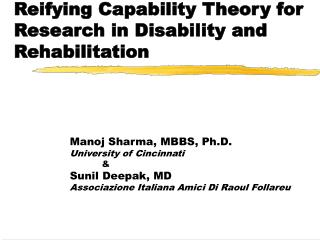 Reifying Capability Theory for Research in Disability and Rehabilitation