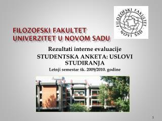 Filozofski fakultet Univer zitet u Novom Sadu