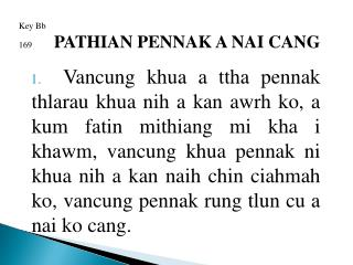 Key Bb 169 PATHIAN PENNAK A NAI CANG