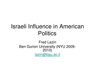 Israeli Influence in American Politics