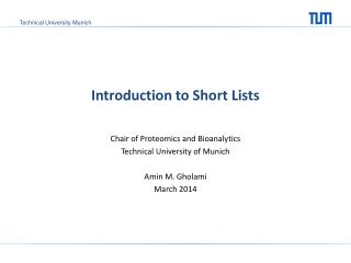 Introduction to Short Lists