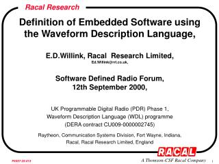 Definition of Embedded Software using the Waveform Description Language,