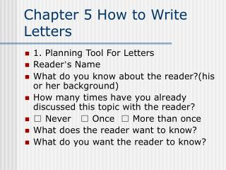 Chapter 5 How to Write Letters