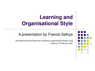 Learning and Organisational Style