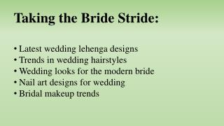 Taking the Bride Stride