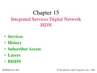 Chapter 15 Integrated Services Digital Network ISDN