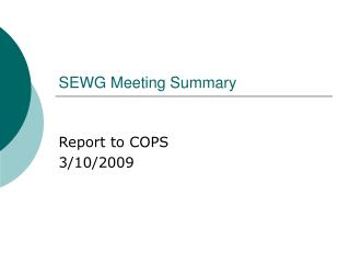 SEWG Meeting Summary