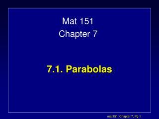 7.1. Parabolas