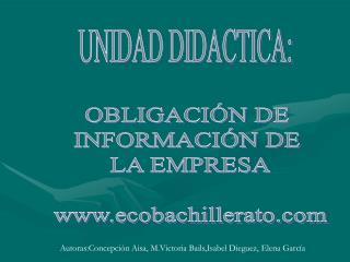 UNIDAD DIDACTICA: