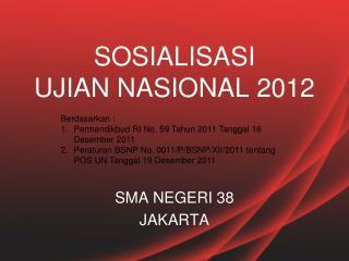 SOSIALISASI  UJIAN NASIONAL  201 2