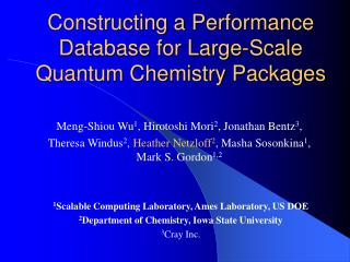 Constructing a Performance Database for Large-Scale Quantum Chemistry Packages