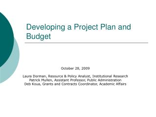 Developing a Project Plan and Budget